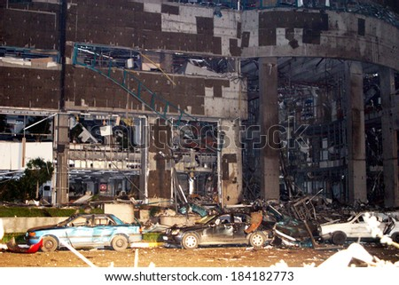 ISTANBUL, TURKEY - NOVEMBER 20: Demolished building after terror attack and bomb explosion in Levent HSBC Bank on November 20, 2003 in Istanbul, Turkey. Killing thirty people and wounding 400 others.