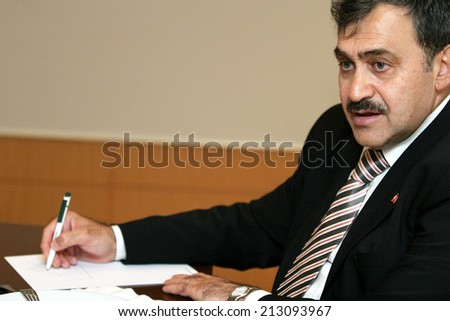 ISTANBUL, TURKEY - NOVEMBER 17: Famous Turkish politician and Turkish Forestry and Water Minister Veysel Eroglu portrait on November 17, 2007, Istanbul, Turkey.