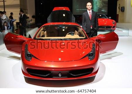 ISTANBUL, TURKEY - NOVEMBER 07: Ferrari 458 Italia at 13th International Auto Show on November 07, 2010 in Istanbul, Turkey. - stock photo