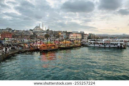ISTANBUL, TURKEY - NOVEMBER 27:  Istanbul skyline with Suleymaniye mosque and city life view from Bosphorus strait on November 27, 2014 in Istanbul, Turkey