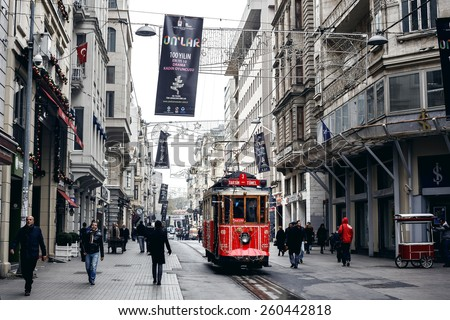 ISTANBUL, TURKEY - NOVEMBER 28: Old tram at Istiklal Avenue in Istanbul, Turkey on November 28, 2014 - stock photo