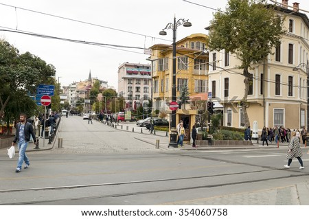 ISTANBUL, TURKEY - NOVEMBER 2015: people walking on the street in downtown. - stock photo