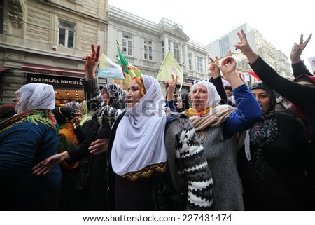 ISTANBUL, TURKEY-NOVEMBER 1: Thousands of people march in Turkeys province of Istanbul in a peaceful support rally for Syrian city under ISIL fire on November 1, 2014 in Istanbul, Turkey.