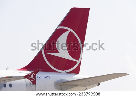 Istanbul, TURKEY - November 3, 2014: Turkish Airlines aircraft parked in Ataturk Airport, Turkish Airline is the fastest growing airline company of Europe - stock photo