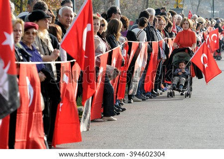 Istanbul, Turkey 10 November 2015 Turkish people wait a minute's silence at anniversary dead of Mustafa Kemal Ataturk - stock photo