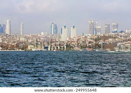 ISTANBUL, TURKEY - NOVEMBER 12, 2014: View of Levent district from Bosphorus. Levent hosts the tallest completed skyscraper of Turkey, the 54-floor Sapphire, which has a roof height of 238 metres. - stock photo