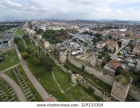 ISTANBUL, TURKEY - 15 OCTOBER 2015: Aerophotographing walls of Theodosius in Istanbul
