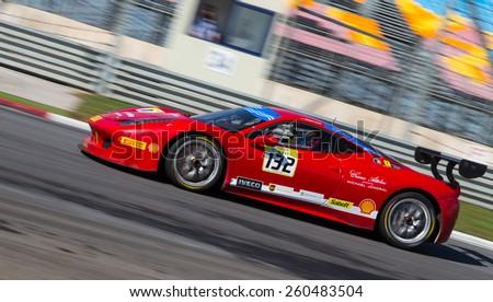 ISTANBUL, TURKEY - OCTOBER 25, 2014: Andreas Segler drives Ferrari 458 Challenge EVO of Rossocorsa Pellin Racing Team during Ferrari Racing Days in Istanbul Park Racing Circuit - stock photo