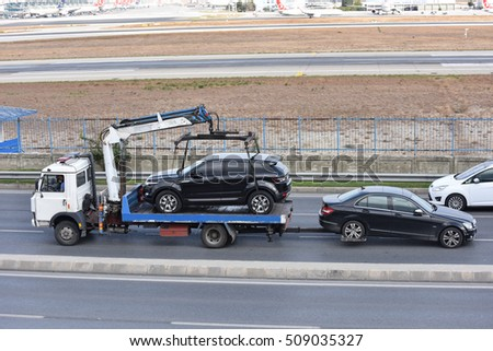 ISTANBUL, TURKEY - OCTOBER 9, 2016: Cars on the tow truck in Istanbul, Turkey.