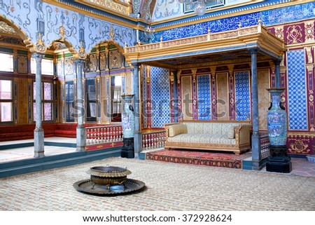 ISTANBUL,TURKEY - OCTOBER 31, 2015: Detail from throne room inside Harem section of Topkapi Palace, entertainment, weddings and exchange of Bayram felicitations took place in this hall.