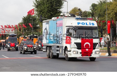 ISTANBUL, TURKEY - OCTOBER 29, 2014: Disaster and Emergency Managment Presidency vehicle in Vatan Avenue during 29 October Republic Day celebration of Turkey
