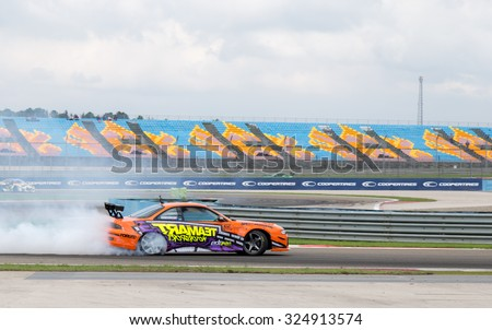 Istanbul, Turkey -  October 03, 2015:  Drifting cars at Intercity Istanbul Park World Rally Cross organisation