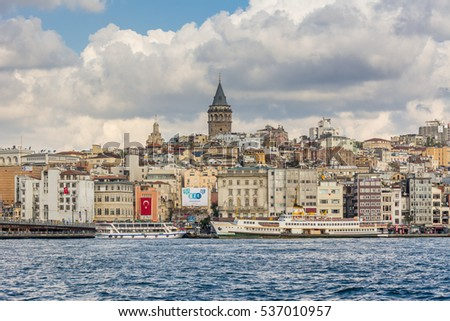 Istanbul, Turkey, October 31, 2016 Editorial: Cityscape of  Golden horn with ancient buildings of Galata tower at Karakoy in Istanbul Turkey from the Bosphorus strait on background cloudy sky