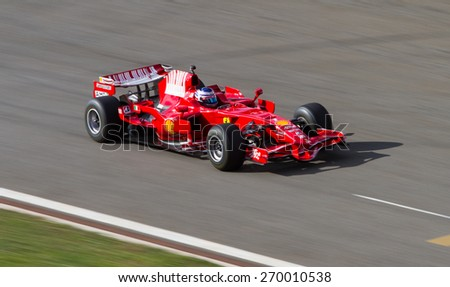 ISTANBUL, TURKEY - OCTOBER 25, 2014: F1 Car in F1 Clienti during Ferrari Racing Days in Istanbul Park Racing Circuit