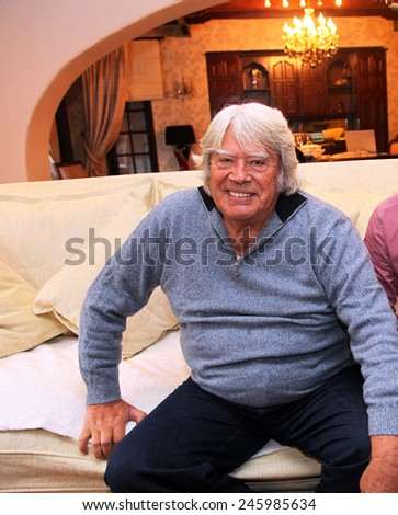 ISTANBUL, TURKEY - OCTOBER 31: Famous Turkish actor, director and producer Cuneyt Arkin portrait on October 31, 2012 in Istanbul, Turkey. His name by birth is Fahrettin Cureklibatur. - stock photo