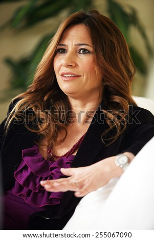 ISTANBUL, TURKEY - OCTOBER 29: Famous Turkish author, columnist, relationship coach, hypnosis and meditation expert Seda Diker portrait on October 29, 2009 in Istanbul, Turkey.  - stock photo