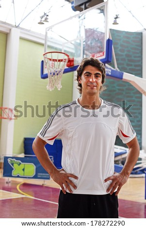 ISTANBUL, TURKEY - OCTOBER 10: Famous Turkish former professional basketball player Ibrahim Kutluay portrait on October 10, 2006 in Istanbul, Turkey.