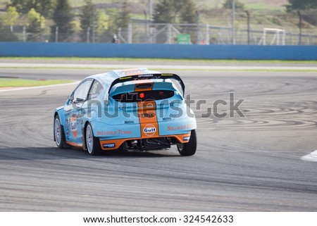 Istanbul, Turkey -  October 03, 2015: FIA World Rally Cross RX Lite Driver Bryntesson with his car