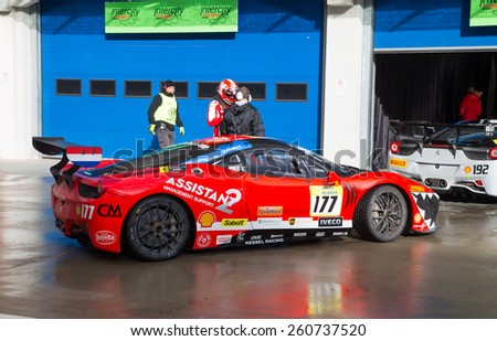 ISTANBUL, TURKEY - OCTOBER 25, 2014: Fons Scheltema drives Ferrari 458 Challenge EVO of Kessel Racing Team during Ferrari Racing Days in Istanbul Park Racing Circuit - stock photo
