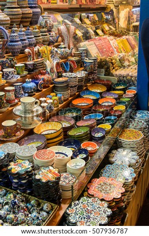 Istanbul, Turkey - October 03, 2015: great selection of typical Turkish dishes at the market in istanbul