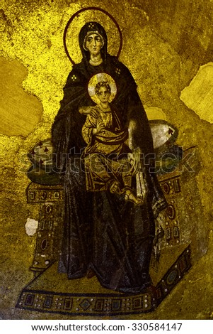 ISTANBUL, TURKEY -  OCTOBER 07 2015: Hagia Sophia ( Aya Sofia ). Interior museum. Mosaic image of the Virgin in the apse.