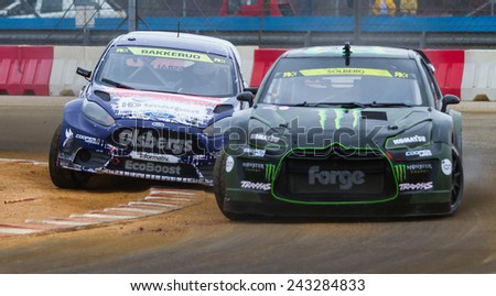 ISTANBUL, TURKEY - OCTOBER 11, 2014: Henning Solberg and Andreas Bakkerud in FIA World Rallycross Championship.