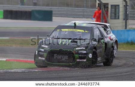 ISTANBUL, TURKEY - OCTOBER 11, 2014: Henning Solberg drives Citroen DS3 of LD Motorsports Team in FIA World Rallycross Championship. - stock photo