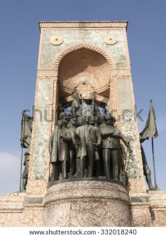 ISTANBUL,TURKEY -OCTOBER 19,2015:Independence Monument commemorating Kemal Ataturk and the founding of the Turkish Republic (1923) Taksim Square in Istanbul Turkey - stock photo