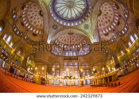 ISTANBUL, TURKEY - OCTOBER 28, 2014: Interior view of famous Blue Mosque.