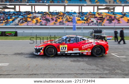 ISTANBUL, TURKEY - OCTOBER 26, 2014: Kessel Racing Team driver Fons Scheltema in start of race in Ferrari Racing Days in Istanbul Park Racing Circuit - stock photo