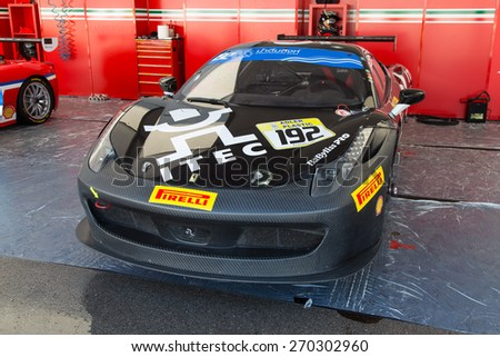 ISTANBUL, TURKEY - OCTOBER 25, 2014: Motor Piacenza Racing Team driver Jacques Duyver in paddock area of Ferrari Racing Days in Istanbul Park Racing Circuit