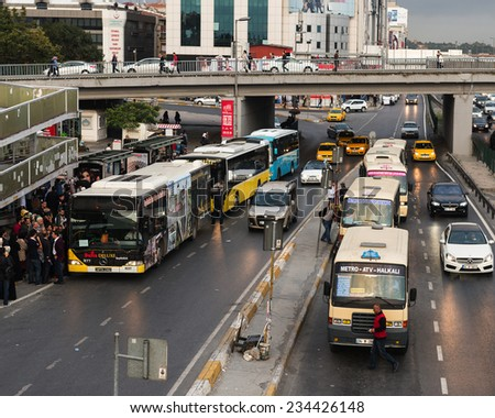 ISTANBUL, TURKEY - OCTOBER O8: Yenibosna district in istanbul Metrobus, a part of public transportation system, eases the traffic in Istanbul on OCTOBER O8, 2014 in Istanbul, Turkey