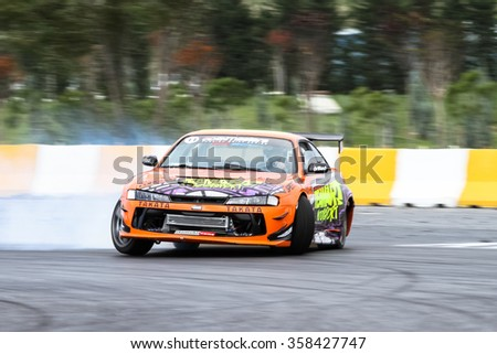 ISTANBUL, TURKEY - OCTOBER 31, 2015: Oktay Kabaktas drives a drift car in Apex Masters Turkish Drift Championship.