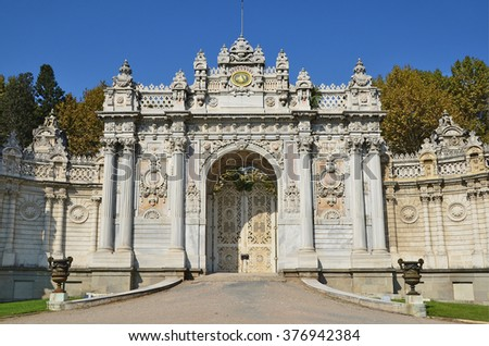 Istanbul, Turkey, October, 19, 2013. One of the entrances to the Dolmabahce Palace in Istanbul