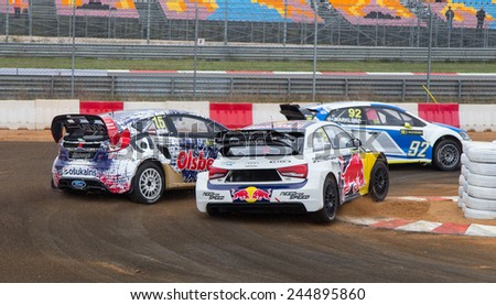 ISTANBUL, TURKEY - OCTOBER 11, 2014: Rallycross cars compite in FIA World Rallycross Championship. - stock photo