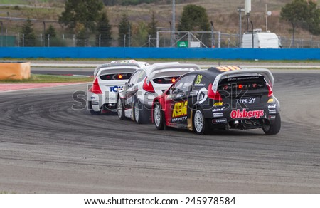 ISTANBUL, TURKEY - OCTOBER 12, 2014: Rallycross cars compite in FIA World Rallycross Championship. - stock photo