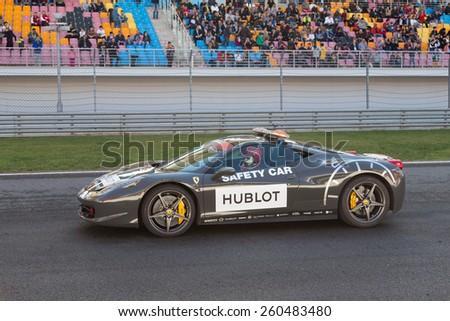 ISTANBUL, TURKEY - OCTOBER 25, 2014: Safety Car in start line during Ferrari Racing Days in Istanbul Park Racing Circuit - stock photo