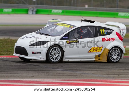 ISTANBUL, TURKEY - OCTOBER 11, 2014: Sebastien Eriksson drives RX Lites of OlsbergsMSE Team in FIA World Rallycross Championship. - stock photo