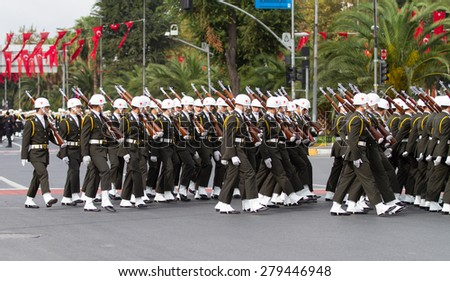 ISTANBUL, TURKEY - OCTOBER 29, 2014: Soldiers march in Vatan Avenue during 29 October Republic Day celebration of Turkey
