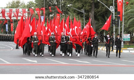 ISTANBUL, TURKEY - OCTOBER 29, 2015: Soldiers march with flags in Vatan Avenue during 29 October Republic Day celebration of Turkey