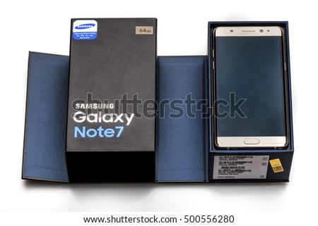 Istanbul, Turkey - October 16, 2016: Studio shot of a Samsung Galaxy Note 7 smartphone, with 12 mP Camera, Exynos 8890 Octa and 5.7 display, 2560 1440 resolution on white.