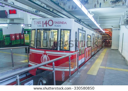 ISTANBUL, TURKEY - OCTOBER 21, 2015: View on the passenger car that crosses the ''Tunnel'', the underground railway line that connecting the quarters of Karakoy and Beyoglu in Istanbul, Turkey.