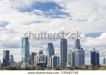 ISTANBUL, TURKEY, OCTOBER 9, 2016: Wide angle view of skyscrapers at Levent district, one of the most populated financial zones in Istanbul.