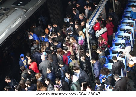 ISTANBUL, TURKEY - OCTOBER 17, 2016: Zincirlikuyu District in instanbul.People waiting metrobus.Metrobus, a part of public transportation system, eases the traffic in Istanbul