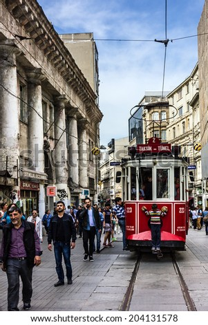 Istanbul, Turkey: old tram in central street Taxim - stock photo