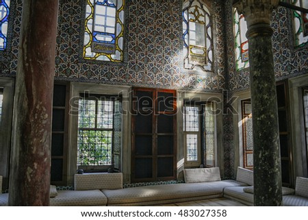 ISTANBUL, TURKEY- SEPT 28, 2007:Courtyard at the Topkapi Palace, Istanbul, Turkey. Topkapi Palace was the primary residence of the Ottoman sultans for approximately 400 years
