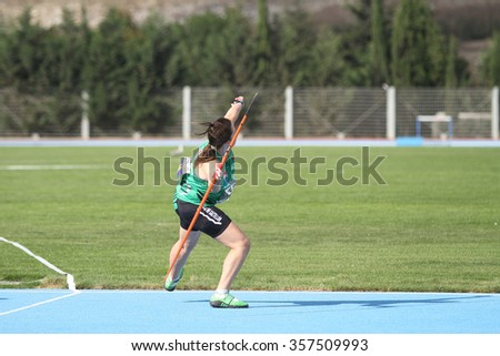 ISTANBUL, TURKEY - SEPTEMBER 19, 2015: Athlete Marta Mancebo javelin throwing during European Champion Clubs Cup Track and Field Juniors Group A