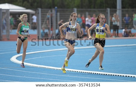 ISTANBUL, TURKEY - SEPTEMBER 19, 2015: Athletes running 800 metres during European Champion Clubs Cup Track and Field Juniors Group A