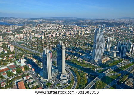 ISTANBUL TURKEY SEPTEMBER 29: Bird eye view of modern business buildings in downtown Istanbul on september 29 2013 in Istanbul Turkey. The population of Istanbul was 13,85 millions (2012)