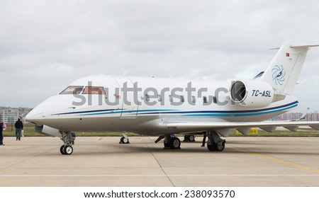 ISTANBUL, TURKEY - SEPTEMBER 27, 2014: Bombardier Challenger 604 in Istanbul Airshow which held in Ataturk Airport